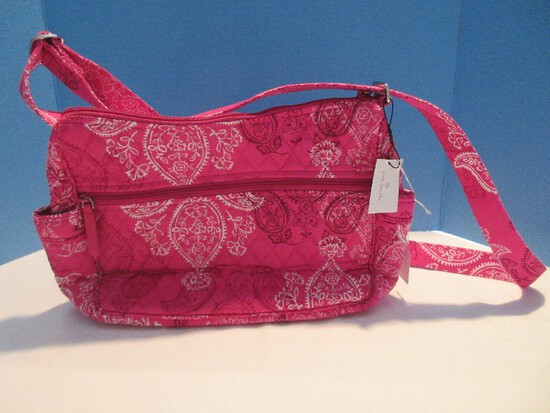 "Vera Bradley Stamped Paisley Pink/White Colors Crossbody Purse ""On The Go"" Pocket Book"