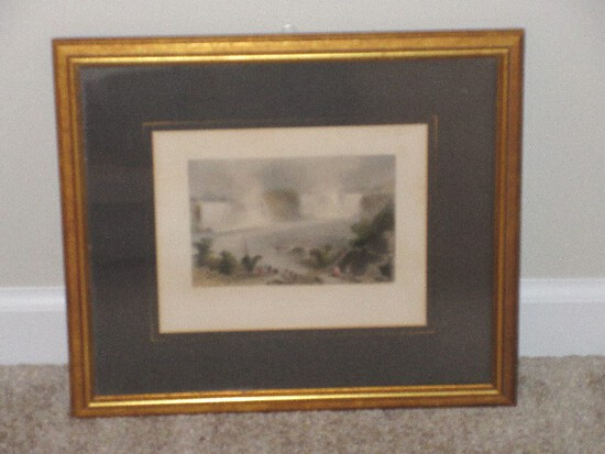 "Antique Engraving Titled ""Niagara Falls"" From Near Clifton House Hand Colored"