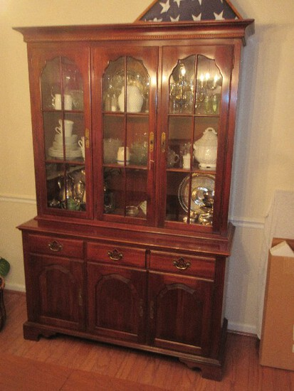 Majestic Knob Creek by Ethan Allen Furniture Classic Cherry Lighted China Cabinet