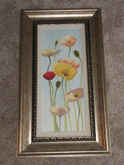Still Life Poppies in Bloom Textured Art Print Attributed to Shirley Novak