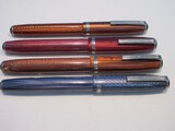 4 Easterbrook Fountain Pens Nib.9461 Brown, 9556 Brown, 9556 Pale Maroon & 9556 Lavender