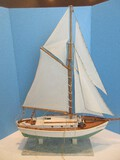Master Craftsman Hand Made Schooner Sailing Ship Scale Model on Marble Base