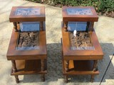 Pair - Exquisite Teakwood Hand Carved Step Back End Tables w/ Base Shelf