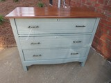 Chic Gray Chalk Painted 3 Drawer Dovetailed Bachelors Chest w/ Stained Wood Top