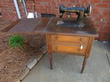 Vintage Standard Sewing Machine in Mahogany Veneer w/ Attachments, Bobbins, Etc.