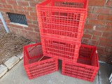 Set - 4 Red Plastic Stackable Crates