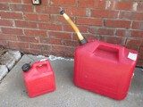 2 Red Plastic Gasoline Cans Midwest 1 Gallon Can Model #1200 Spill-Proof System