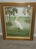 Realistic Original Artwork White Heron Bird Wading in Water Palm Trees Background