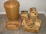 Group - Rectangular Natural Wood Split Baskets w/ Handles, Hamper & Others