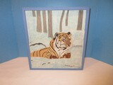 Southern Artist Carved Solid Wood Plaque Tiger & Woods 3-D Artist Signed E.R.N.