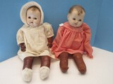 2 Vintage Baby Dolls Cloth Bodies, Rubber Arms & Legs Features Sleep Eyes, Open Mouth