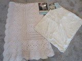 Quaker Windsor Pattern Lace Table Cloth Natural Oblong 70 x 108 Crocheted Table Cloth