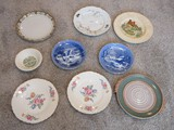 Group Misc. Collector Plates, Plates, Artisan Pottery Tab Handle 9 3/4
