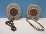 2 Vintage Tryon Bank & Trust Horse Shoe Key Chains w/ Wheat Lincoln Penny Coins 1953D