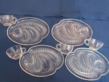 Set - 4 Federal Glass Homestead Pattern Clear Glass Snack Set 4 Plates, 4 Cups