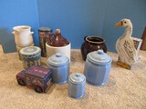 Kitchenware 3 Ceramic Blue Panel Design Canisters, Brown Glaze Pottery Bean Pot
