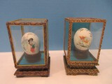 2 Hand Painted Eggs in Display Fabric Covered Cases Glass Panels Blue Birds/Geisha Design
