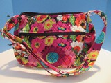 Vera Bradley Vibrant Flowers & Foliage Pattern Crossbody Purse Shoulder Bag