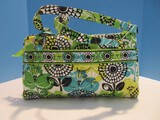 Vera Bradley Colorful Teal, Yellow, Lime & Black Wild Flowers Pattern Shoulder/Hand Bag