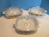 6 Piece Corningware Spice of Life Pattern Centura Vegetable Design Casseroles