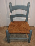 Painted Slate Ladder Back Child's Chair w/ Rush Seat