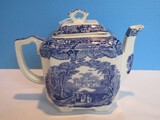 Masons Patent Ironstone China Vista Blue/White Pattern Fan Teapot & Lid