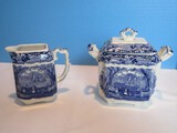 Pair - Masons Patent Ironstone China Vista Blue/White Pattern Blue Leaves Landscape Design