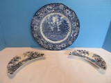 Group - 2 Royal Staffordshire Tonquin Blue pattern Floral Border House Scene Design