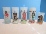 Set - 4 Famous Oklahoma Indian Frosted Glass 6 3/4