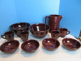 Marcrest Stoneware Daisy Dot Pattern Solid Brown Glaze