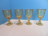 Set - 4 Imperial Glass-Ohio Old Williamsburg Pattern Yellow Pressed Glass Stem Wine Glasses