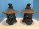 Pair - Cast Iron Pagoda Lantern Pierced Cherry Blossom Panels Design Weathered Patina
