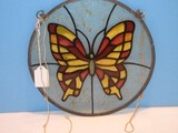 Sun Catcher Simulated Stained Glass Butterfly Design Disc.