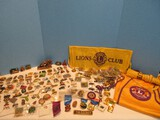 Collection of Lions Club Pins Various Conventions, 2 Waist Aprons w/ Pocket