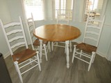 Cream Cottage Style Dropleaf Table Natural Finish w/ 4 Ladder Back Chairs Rush Seats