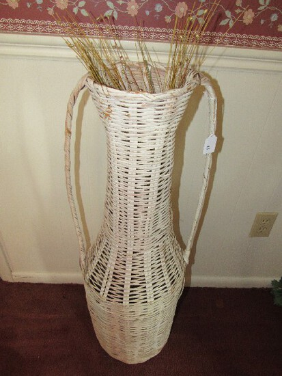 Tall White Wicker Grecian Vase Design Décor Vase w/ Faux Flowers