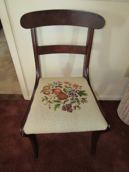 Wooden Vintage Child's Chair Front Upholstered Seat 2 Ladder Back, Curved Feet