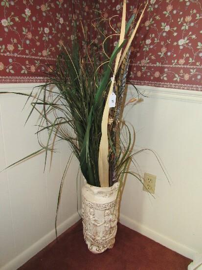 White Ceramic Planter w/ German Garden Party Motif w/ Faux Floral Motif Top