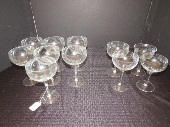 "Lot - Floral/Leaf Etched 7 Champagne Saucers, 6 3/4"" H Floral/Etched Cups/Glasses"