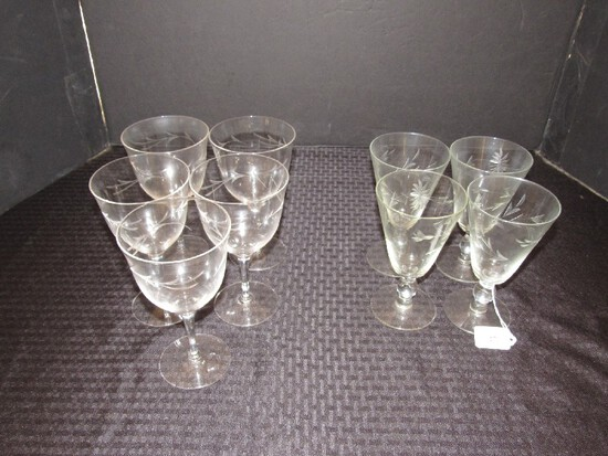 """Lot - 4 Floral etched Goblets 6 1/4"""" H, 5 tall Glass Floral Etched 6 3/4"""" H"""
