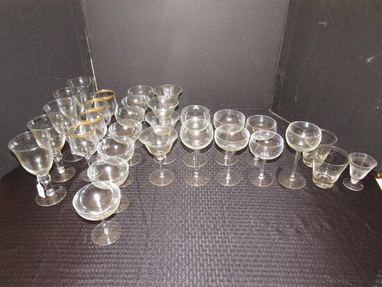 Huge Glass Lot - Glass Cups, Goblets, Sherry, Champagne, Saucers, Etc.