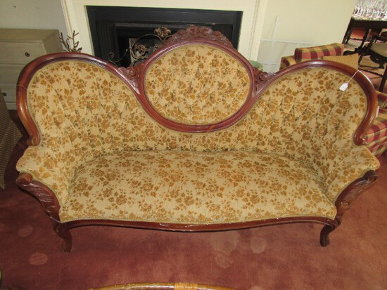 Rococo-Style 3 Person Sofa Dark Wooden Body w/ Brown/Tan Floral Upholstered Pattern