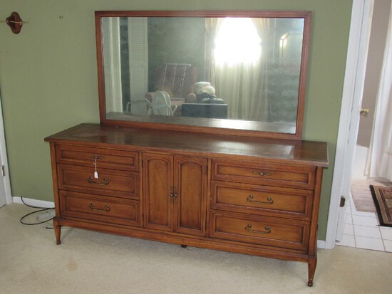 White Fine Furniture Long Dresser 9 Drawers, 2 Doors w/ Back Mirror, Brass Pulls