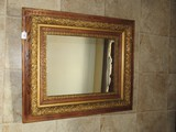 Vintage Ornate Wall Mounted Mirror Wood Frame w/ Gilded Scroll Embellishment