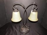 Black Metal Twin Light Lamps w/ White Shade