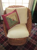Wicker Arch back Chair w/ White/Red Cushions