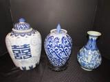 Tall Blue/White Asian Motif Jar w/ Lid 12 1/2