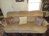 3 Part Tan Upholstered Reclining Couch w/ Cushions