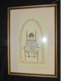 Girl in Chair Stitch Art in Gilded Wooden Frame/Matt