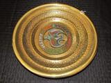 Joy, Peace, Love, Faith, Hope Enameled Dove Brass Wall Plate Décor Scroll/Grape Motif